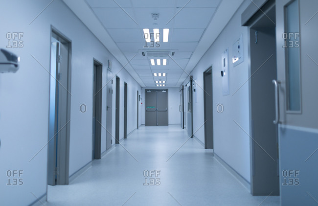 Front view of an empty modern corridor of hospital.