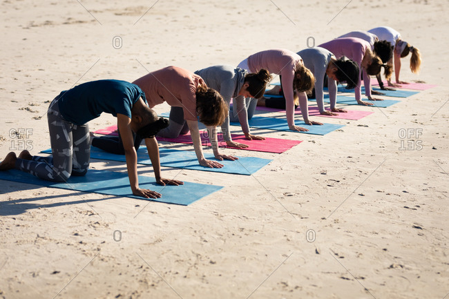 Side view of a multi-ethnic group of female friends enjoying exercising on a beach on a sunny day, practicing yoga, kneeling in yoga position.
