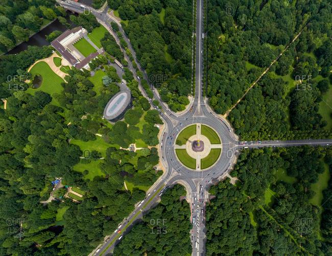 Aerial view of Berlin Tiergarten park, Germany.