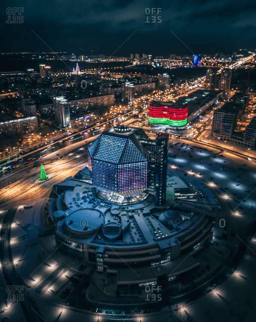 January 4, 2019: Aerial view of night city traffic and lights of Minsk and the national library of Belarus, Minsk, Republic of Belarus.