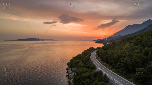 Aerial view of main coastal road in Croatia connecting cities of Split and Dubrovnik.