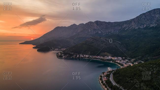 Aerial view of sunset hours on Adriatic coast near Drvenik in Dalmatia, Croatia.