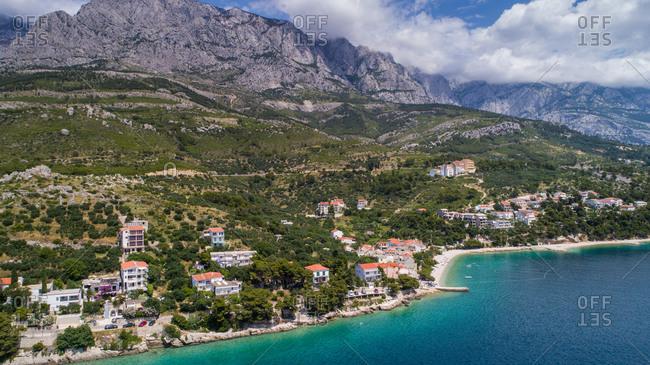 Aerial view of Promajna, touristic place near Baka Voda in Dalmatia, Croatia.