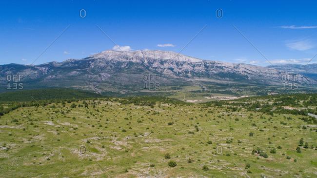 Aerial view of the highest Croatian mountain Dinara situated near the city of Knin in Dalmatia, Croatia.