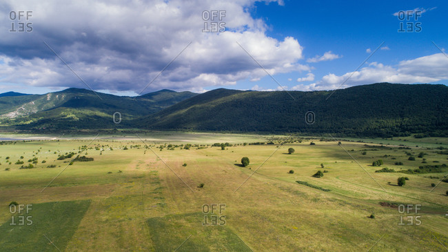 Aerial view of landscape of Lika region in Croatia. Photo made near the city of Korenica.