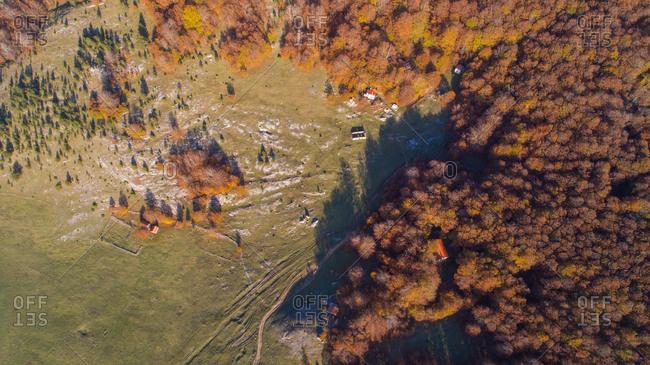 Aerial view of Dinara mountain autumn landscape. Dinara is the highest mountain of Croatia situated near the city of Knin i Dalmatia, Croatia.