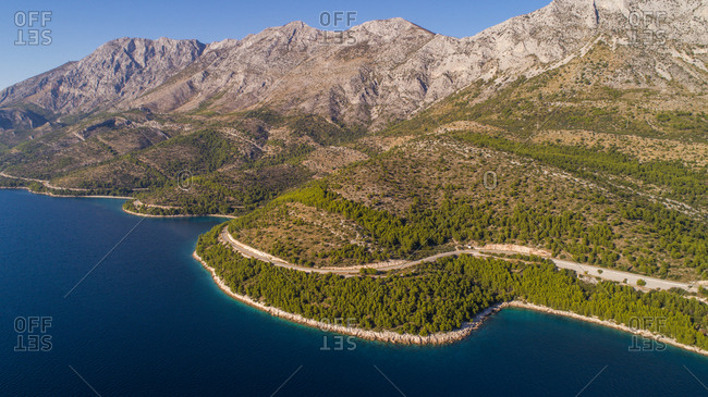 Aerial view of the Adriatic sea and coastline near Drvenik in Dalmatia, Croatia.