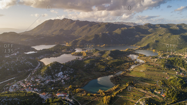 Aerial view of autumn sunset on Basina lakes near the city of Pole in Dalmatia, Croatia.