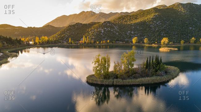 Aerial view of autumn sunset on famous tourist attraction Basina lakes near the city of Pole in Dalmatia, Croatia.