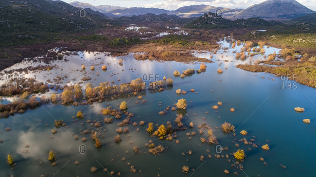 Aerial view of flooded Matica river and surrounding valley near the city of Pole in Dalmatia, Croatia.