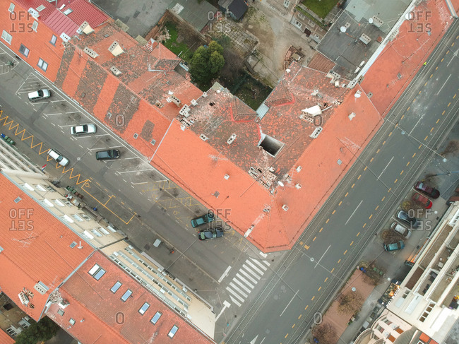 Aerial view above of damaged building due to earthquake, Zagreb, Croatia.