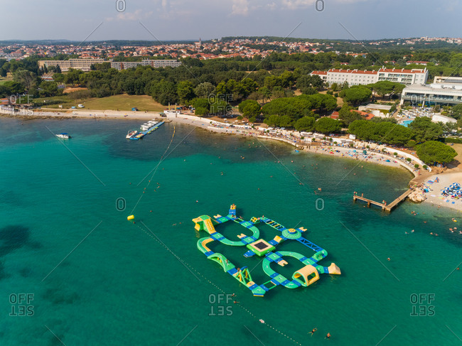 Aerial view of a water sports center on the shore of the bay in Medulin, Croatia