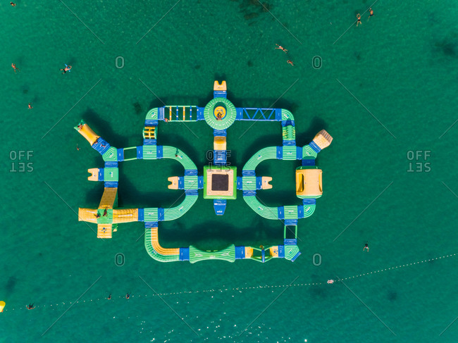 Aerial view of a water sports center in the turquoise waters of Medulin, Croatia