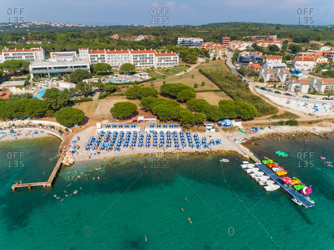September 1, 2019: Aerial view of Medulin beach on the shore of the bay, Croatia