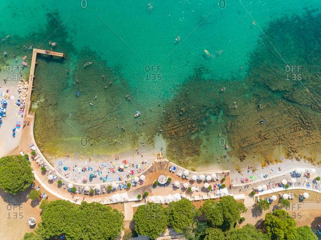 Aerial view of Alba Chiara Beach Medulin, Croatia