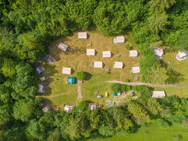 Aerial view of camping houses in the middle of the forest in Bovec, Slovenia
