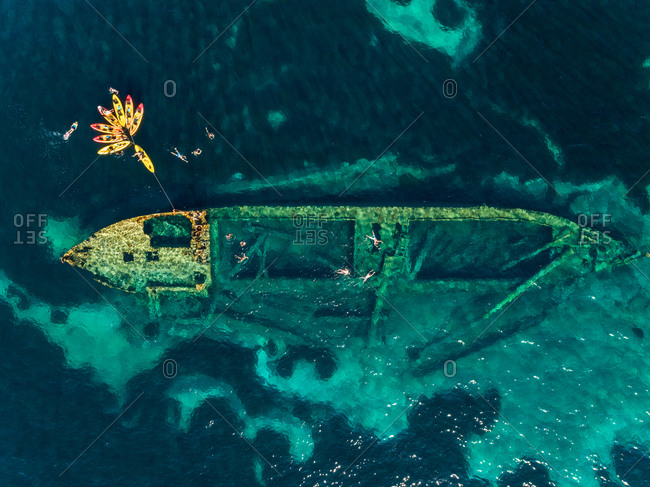 Aerial view of a boat under water in Veli Rat, Croatia