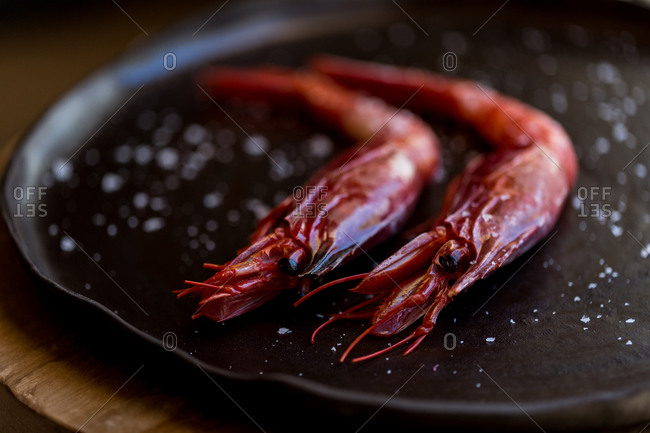 Cooked red prawns on a plate