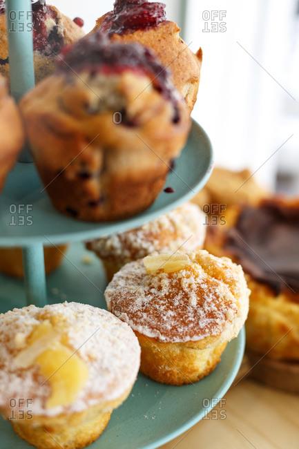 Variety of decadent muffins