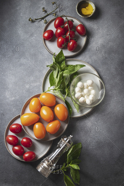 Ingredients for caprese salad - tomatoes, basil and mozzarella