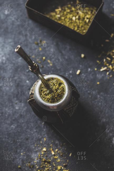 Latin American hot drink Yerba Mate in calabash
