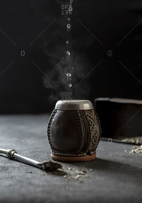 Latin American hot drink Yerba Mate in calabash