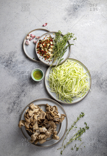 Vegetarian zucchini Pasta with mushrooms.  Uncooked ingredients