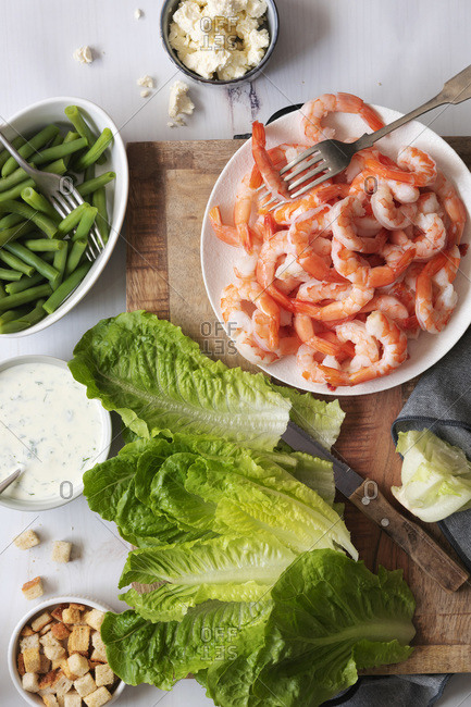Ingredients for a prawn salad.