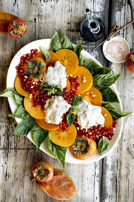 Overhead View of Persimmon Burrata Salad