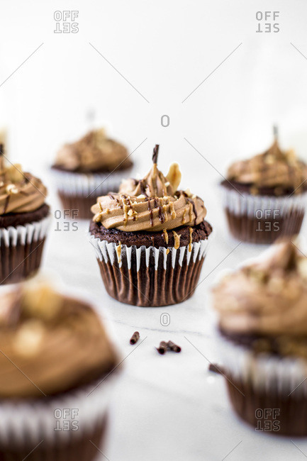 Rows of Chocolate Peanut Cupcakes