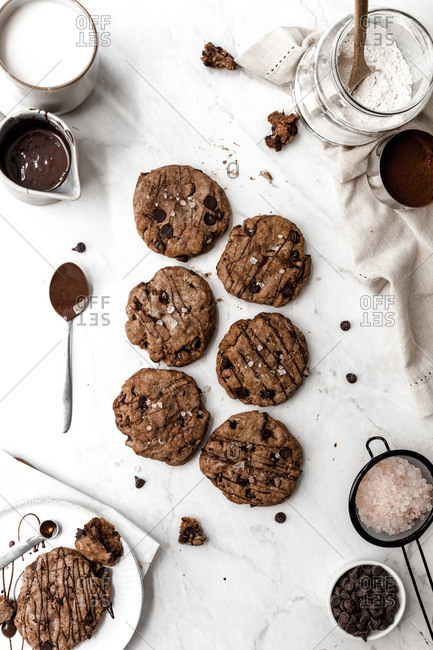 Overhead View of Large Chocolate Cookies
