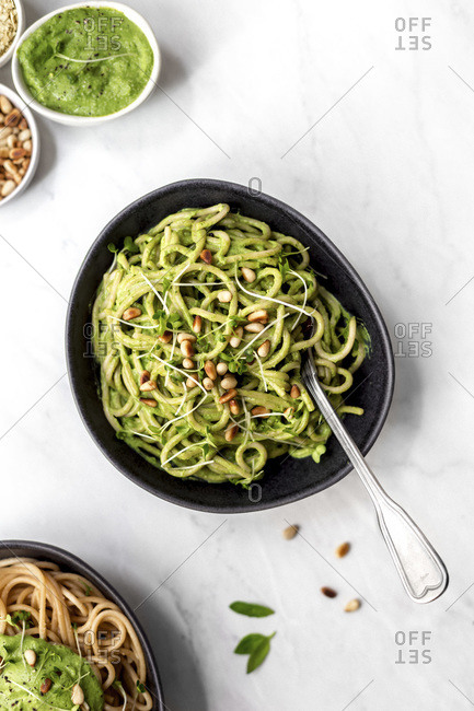 Overhead View of Green Pesto Pasta
