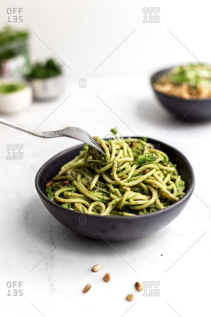 Green Pesto Pasta with a Fork