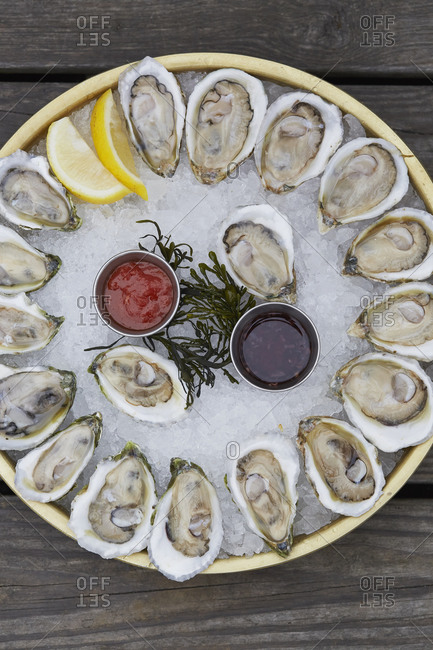 Overhead view of large serving oyster platter