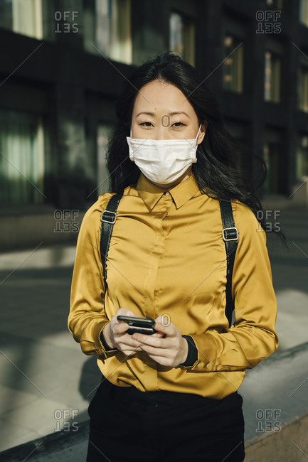 Portrait of woman with face mask