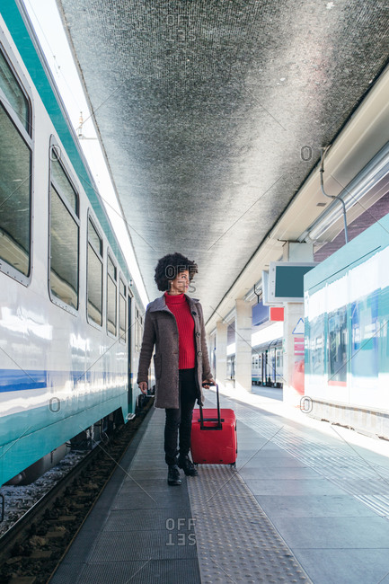 Elegant woman going for business trip on train