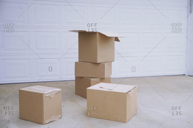 Cardboard boxes next to the garage door