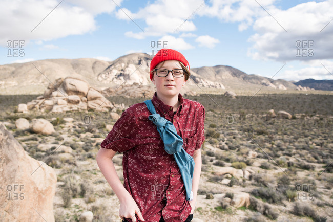 Portrait of teenager out exploring Joshua Tree National Park
