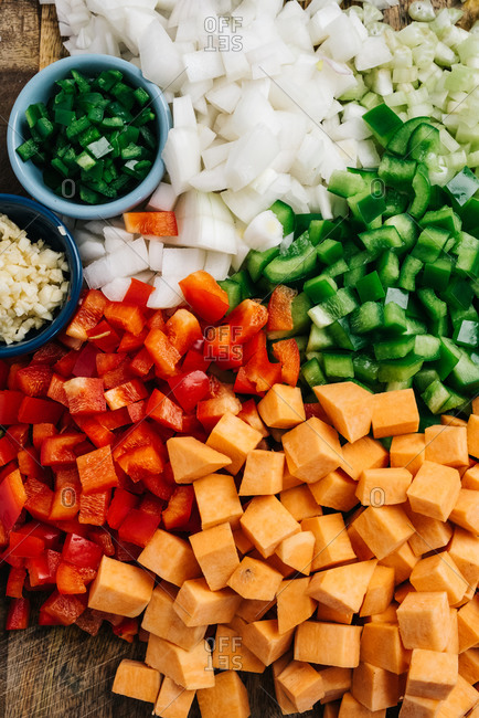 Assorted diced vegetables for a chili con carne recipe