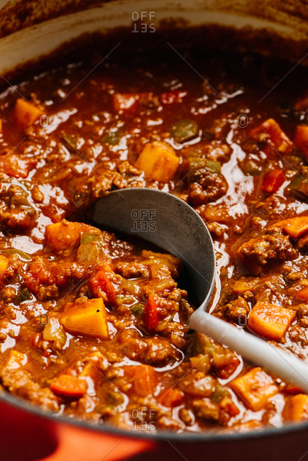 Paleo chili con carne cooking in a dutch oven