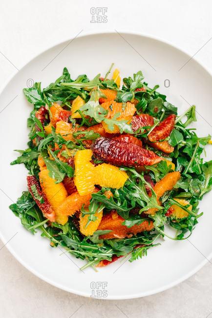 Citrus Arugula Salad with blood orange, cara cara and naval oranges
