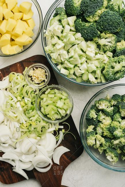 Chopped veggies for a potato broccoli soup recipe