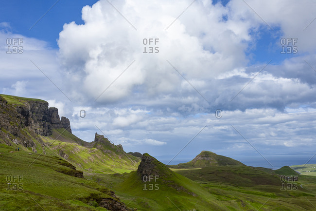 Green Fields and Blue Sky with Clouds in Quiraing Isle of Skye Scotland