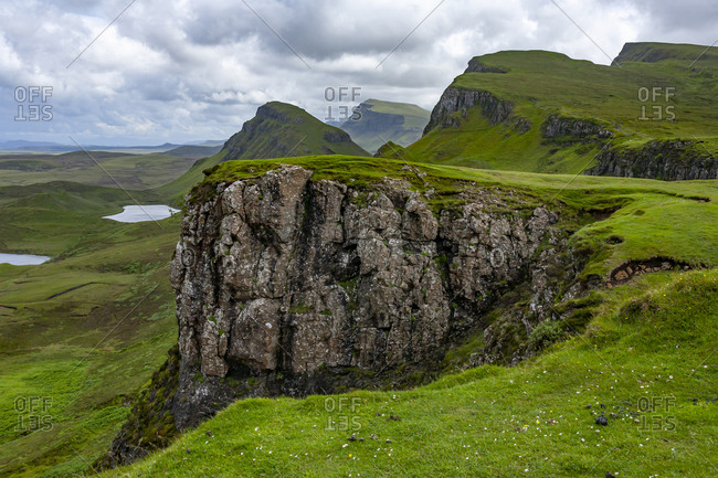 Lakes, Cliff, Blue Sky with Clouds in Quiraing Isle of Skye Scotland