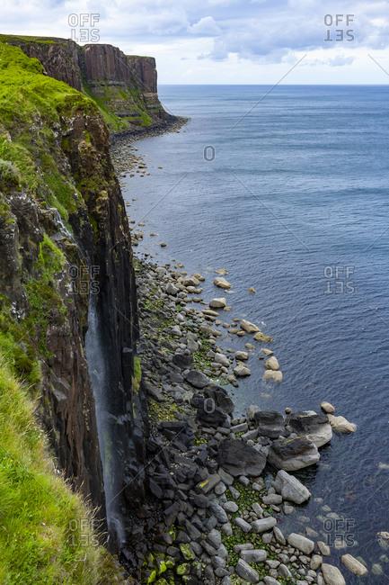 Kilt Rock and Mealt Falls, Seaside Cliffs, in Isle of Skye Scotland