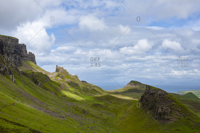 Trail, Blue Sky with Clouds in Quiraing Isle of Skye Scotland