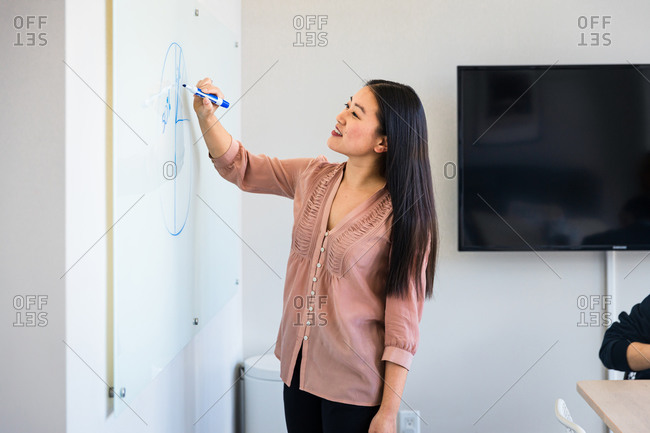 Smiling confident businesswoman drawing diagram on whiteboard in meeting room at office