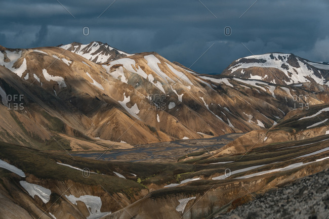 Stormy Landmannalaugar in the Highlands of Iceland