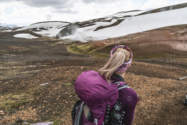 Female Backpacker in the Highlands of Iceland