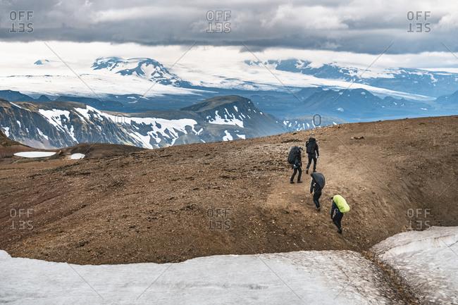 Highlands, Iceland - June 7, 2017: Friends Trekking the Laugavegur Trail